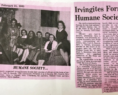 Irvingites Form Humane Society